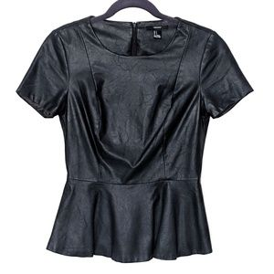 Forever 21 Black Faux Leather Peplum Top
